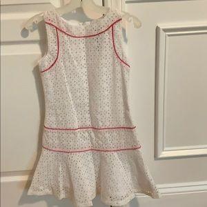 Laundry white pink eyelet cotton dress